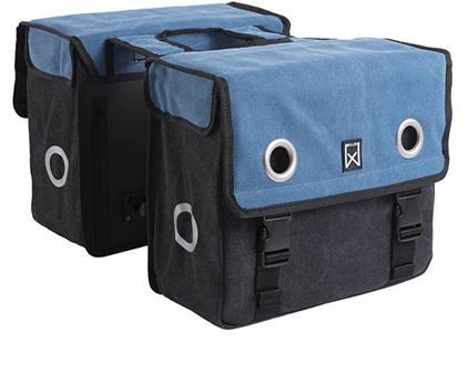 Willex Double Bag Canvas Zwart-Blauw